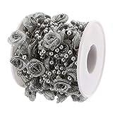 SM SunniMix 10 M Blumenform Perlenband Perlengirlande Perlenvorhang Perlen Türvorhang Dekoration für jede Anlässe - Silber