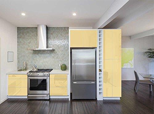 Aufkleber für Küchenschränke 63x500cm GLANZ - Folie aus hochwertigem PVC Tapeten Küche Klebefolie Möbel wasserfest für Schränke selbstklebende Folie Küchenfolie Dekofolie - Crème