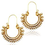 Girls Chand bali earrings pearl hoops ea...