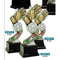 Trofeo fútbol Guante portero con balón–H cm 30–Manivela–Made in Italy