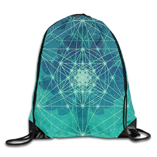 (HLKPE Digital Futuristic Tree of Life Icon with Space Plains Archaic Pattern Drawstring Backpack Waterproof Drawstring Backbag Outdoor Travel Sports Gym Storage Bag for Men and Women)