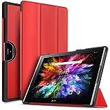 IVSO Acer Iconia Tab 10 (A3-A50) Hülle, Ultra Schlank Ständer Slim Leder zubehör Schutzhülle perfekt geeignet für Acer Iconia Tab 10 A3-A50 2017 Tablet PC(10,1 Zoll), Rot