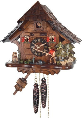 River City Clocks One Day Cuckoo Clock Cottage, Fisherman Raises Fishing Pole by River City Cuckoo Clocks - Cottage, Cuckoo Clock