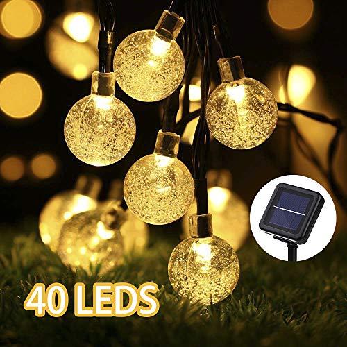 LED Solar Lichterkette außen, GreenClick 7.85 lang Meter 40 LEDs Warmweiß Kugeln Lichterkette,...
