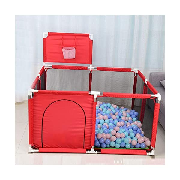 Portable Baby Ball Pit Tent Playpen Playard Fence with Basketball Hoop Breathable Mesh for Indoors Outdoors Infant Toddler Kids Large HI SUYI Perfect for both Babies & Parents--- Babies play&crawl inside the child safety fence and parents can look after them outside it directly while doing housework or chatting,gossiping without worrying about their safety! What a play center for babies! What a release for Parents! This ball pit playpen made of high quality stainless steel tube and sturdy nylon cloths,designed with breathable and visible mesh.You can observed your baby's behavior in the playpen easily. Good to pay attention to the baby's dynamic and keep them safe. Assembled and washable baby play yard: The baby circle is light enough to be lifted with one hand, so even a single woman assembles and moves. It is safe even if it gets dirty because the cloth can be washed. It is easy to portable and washable.NOTE:COLOR BALLS ARE EXCLUED. 2