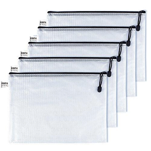 Kuuqa A4 Größe Mesh Zipper File Taschen Wasserresistent Dokument Taschen für Kosmetik Bürobedarf Zubehör (5 Stück) (Zubehör 5 Taschen Für)