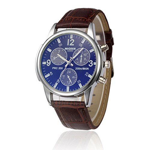 Produktbild Herren Armbanduhr,Kingwo Herren Damen Neue Uhren Retro Design Lederband Analog Alloy Quarz Armbanduhr Armband für Casual Bussiness (Q)
