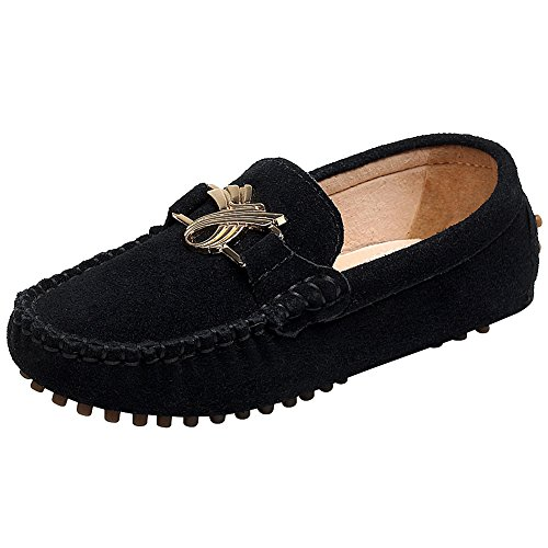 Shenn Kinder Jungen Schlüpfen Niedlich Wildleder Slipper & Mokassins Schuhe S88819 (Niedlich Schwarz Alle Kostüme)