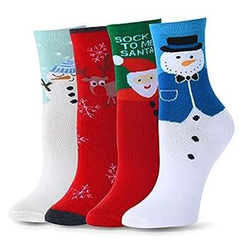 Ambielly cotone calzini termici dei calzini adulti Unisex Calze (4 calze di Natale)