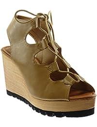 Angkorly Chaussure Mode Sandale Mule Peep-Toe Plateforme Spartiates Femme  Bois Talon Compensé Plateforme 9.5 0be09409df93