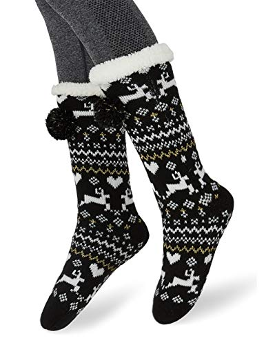 494d2f00b436 Maamgic Womens Christmas Fuzzy Slipper Sock Ladies Warm Funny Cable Knit  Socks With Grips (Black