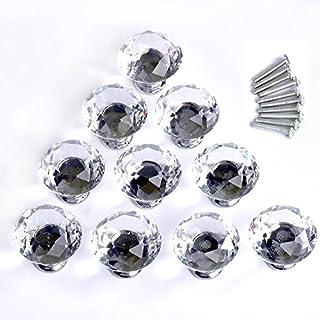 asimoon 10PCS Kristall Glas Schublade Knopf, 3cm Pull Griff mit Diamant Form Metall und Schraube für Schrank/Kommode//Tür//Küche/ farblos