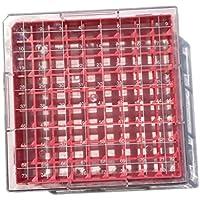 Cryobox de policarbonato, 130 mm de largo x 130 mm de ancho x 52 mm de alto, 9 x 9 cm, 81 lugares