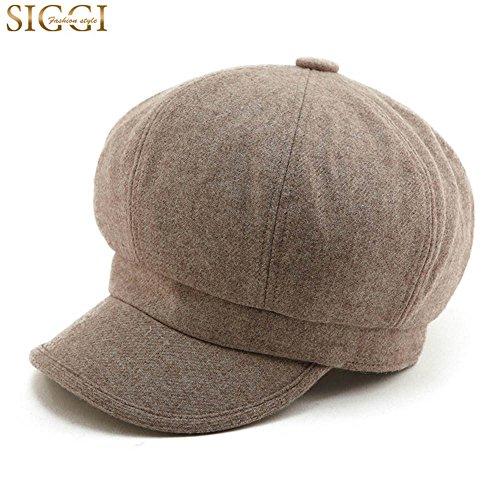 SIGGI Schirmmütze Barett Maler Mütze Damen mit Visor, 67145_Kaffeebraun, Einheitsgröße