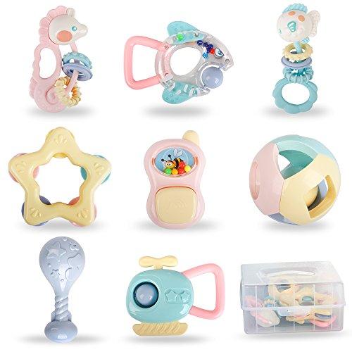 bodolo 8 Stücke Baby Rasseln Beißringe Spielzeug Set Schütteln Glocken Schnappen Spielzeug mit Aufbewahrungsbox für Kleinkinder Neugeborenes Baby Mädchen