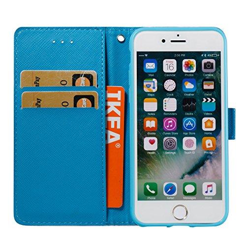 iPhone 8 Plus Hülle, STENES 3D Stilvoll Serie Kartenfach Standfunktion Magnet Ledertasche Wallet TPU Stoßfänger Schutzhülle für iPhone 7 Plus / iPhone 8 Plus - Marmor Streifen / Schwarz Marmor Streifen / Blau