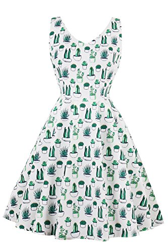 Robe Cocktail Soirée Vintage année 1950 l'impression Plante Grande Taille par Babyonlinedress Vert