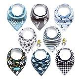 BeBeCute 8er Baby Dreieckstuch Lätzchen mit Schnullerkette und Verstellbaren Druckknöpfen Multifunctional, Super Absorbent & Soft Baumwoll, Jungen