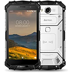Telephone Portable Debloqué, Aermoo M1 Dual SIM Free Smartphone 4G 7.0 Android Telephone Incassable IP68 Etanche, 5.2 FHD Helio P25 Octa-Core 6G RAM+64G ROM, 8.0MP + 21.0MP, 5580mAh Fingerprint-Argent