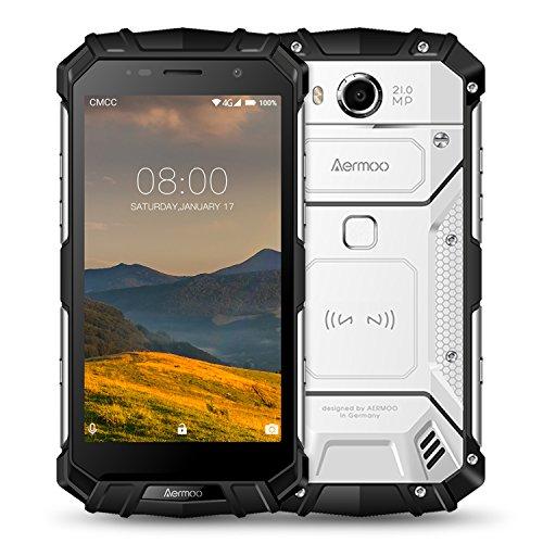 Smartphone ohne Vertrag, Aermoo M1 IP68 wasserdichte Outdoor Handy, Dual SIM 4G Android 7.0 Smartphones, 5.2' FHD, Helio P25 Octa-core, 6G RAM+64G, 8.0MP+21.0MP Kameras - 5580mAh,Fingerabdruck-Silber