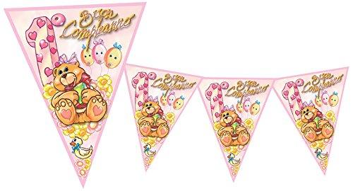 Magic Party BA05-Banderín Primer Cumpleaños, 3,6mt, Rosa