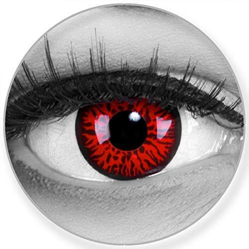 Funnylens Farbige Kontaktlinsen Red Demon rot schwarz - Monster Linsen weich ohne Stärke 2er Pack + gratis Behälter - 12 Monatslinsen - perfekt zu Halloween Karneval Fasching oder Fasnacht