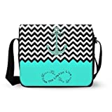 Turquoise Colorblock Chevron Zigzag Infinity Anchor Mens Womens Daily Messenger Cross Body Shoulder Bag - Infinity Live The Life You Love, Love The Life You Live