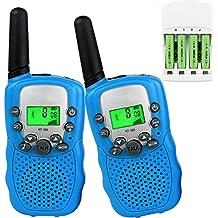 Talkies Walkies PMR 446 pour Enfants et Adultes avec Batteries rechargeable et Chargeur Talkie Walkie Enfants Talkie-Walkies Talki Walki Talky Walky Flashlight VOX 8 Canaux 0.5W (1 Paire, Bleu)