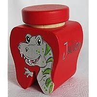 Milchzahndose Dino rot-grau