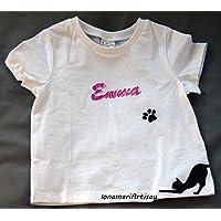 Camiseta blanca con dibujo o nombre 0-24 meses