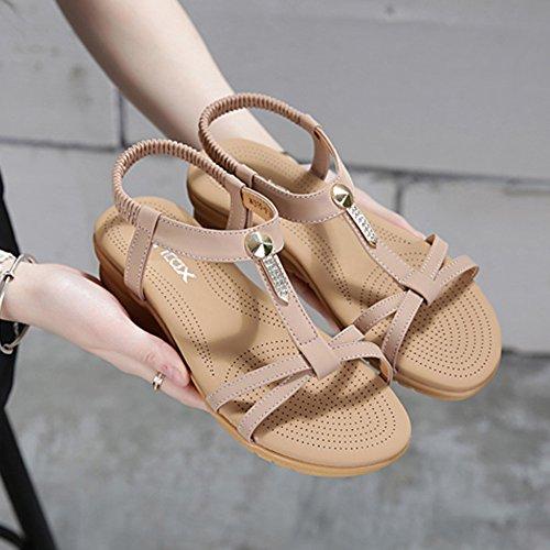 Pente avec sandales à talons hauts à bascule --- Sandales Spring Comfort PU Talon plat décontracté (Noir / Rose) Talon haut: (4cm) --- Herringbone fashion sweet Sandals Rose