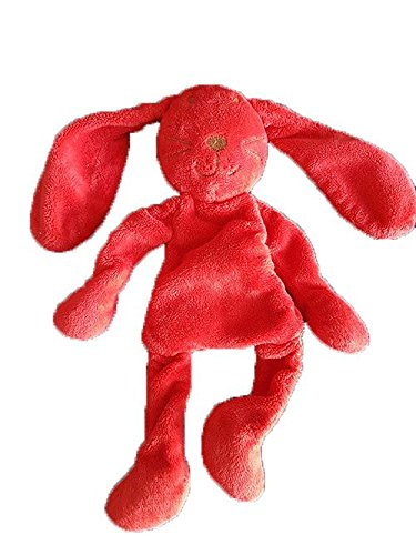DPAM - Doudou Dpam Lapin rouge semi plat empreinte bille - 8655