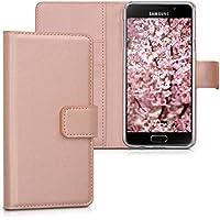 kwmobile Housse en cuir synthétique élégante pour Samsung Galaxy A3 (2016) avec fermeture aimantée et fonction support en or rose