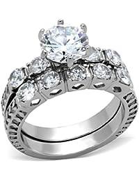 8 x 8 mm redonda de acero inoxidable libre condotel centro CZ compromiso 2 conjunto de anillos de mujer