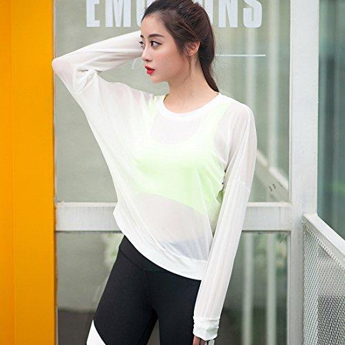 Vertvie Femme Débardeur en Maille Top Sheer Net Manches Longues Shirt Sport Col Rond pour Yoga Jogging Blanc