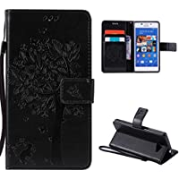 Sony Xperia M2 Case,Skin Durable Protective Case Premium PU Leather Wallet Case Durable Protective Case with Kickstand and Credit Card Slot Cash Holder Flip Cover for Sony Xperia M2 Black