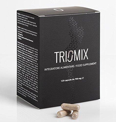 TRIOMIX integratore tripla azione: Dimagrante Termogenico Antifame. 120 capsule a base di Glucomannano, Caffe' verde, Garcinia Cambogia. Brucia grassi naturale