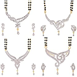 YouBella Women's Pride Collection Combo of Four Designer American Diamond Mangalsutra Pendant with Chain and Earrings for Women