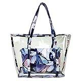 Artone Schal Drucken Wasserabweisend Transparent Tragetasche Strandtasche Schultertaschen Handtasche Mit Bikini Badeanzug Tasche 2 in 1 Blau