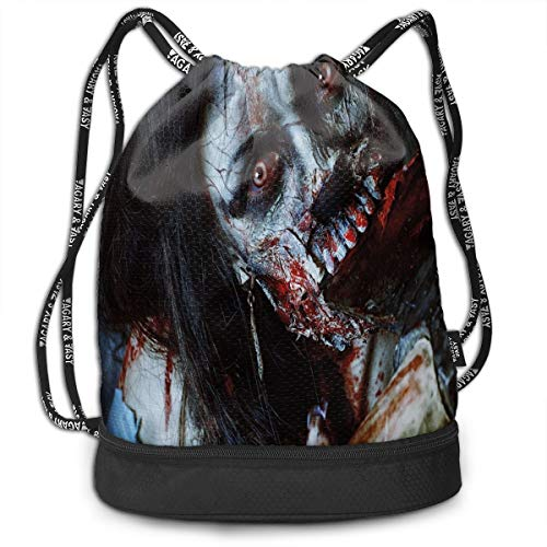 LULABE Printed Drawstring Backpacks Bags,Scary Dead Woman with A Bloody Axe Evil Fantasy Gothic Mystery Halloween Picture,Adjustable String Closure (Box Mystery Halloween)