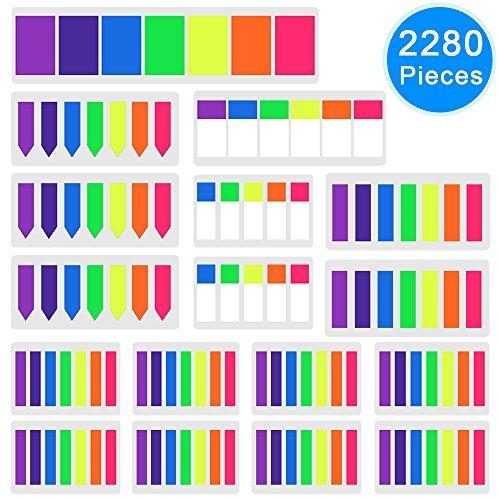 AUSTOR 2280 Pezzi Segnapagina Adesivo Colorato Indice Bandiere Freccia Tab Strisce di Highlighter per Marker Pagina, 17 Sets
