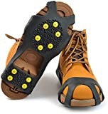 SHiZAK Pair of 10 Stud Non-Skid Ice Crampons Unisex Over Shoe/Boot Traction Cleat Rubber Spikes Anti-Slip Stretch Footwear For Outdoor Ski Ice Snow Hiking Climbing