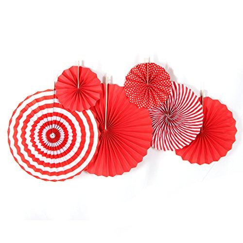 SUNBEAUTY 6er Set Papier Fächer Rot Papierrosetten Dekoration für Valentinstag Party Feier Hochzeit Geburtstag 21cm 31cm 42cm (Rot)