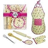 PRO 6pcs scherzt Backen-Set, Kinderbakeware-Installationssatz-Schürze, Ofen-Handschuh, Eggbeate-wirkliche Backen-Versorgungsmaterialien Küchen-Chef-Kostüm für Kinder