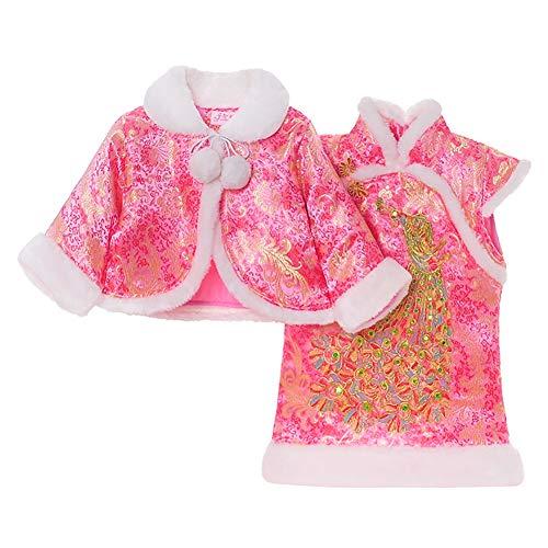 Kleidung Baby Mädchen Kleid Winter Cheongsam Tang Anzug Cheongsam Baumwollumhang Schal Neue Jahr Kostüm Leistung ()