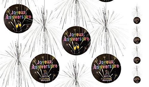 Visiodirect Lot DE 40 Suspensions Cascade Joyeux Anniversaire - 180 cm