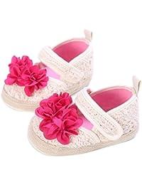 Culater? Ragazza del bambino pattini della greppia Newborn Fiore morbida suola antiscivolo Sandali Sneakers (3, Rosa)