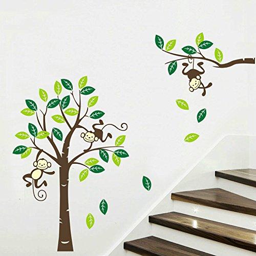 """Preisvergleich Produktbild yanqiao Lebendige Süßes Affen spielen auf Baum Äste für Wohnzimmer babyroom Spielzimmer Kindergarten Art Wand Aufkleber, 119,9x 180,1cm, L:74.8*102.4"""""""