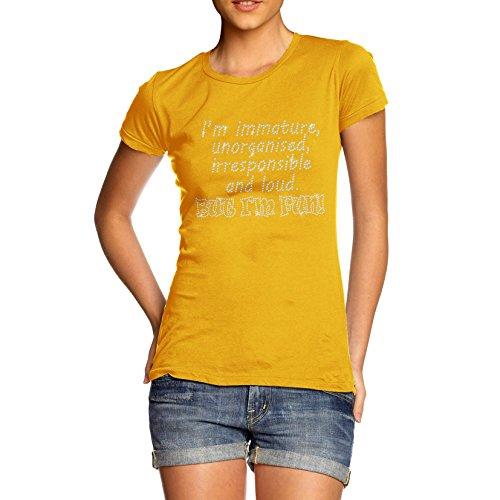 Frauen 'S Unreifen aber Fun Strass mit Bio Baumwolle T-Shirt Gelb - Gelb