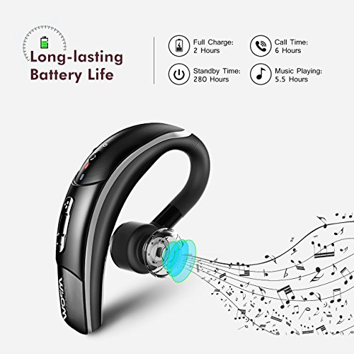 Mpow Bluetooth Headset [Business Style] Wireless Headset Bluetooth Earpiece Hands-free Calling with Clear Voice Capture Technology Bluetooth Earbuds for iPhone Samsung Huawei HTC, etc. (Bluetooth 4.1, 280 Hours Standby Time, Black)
